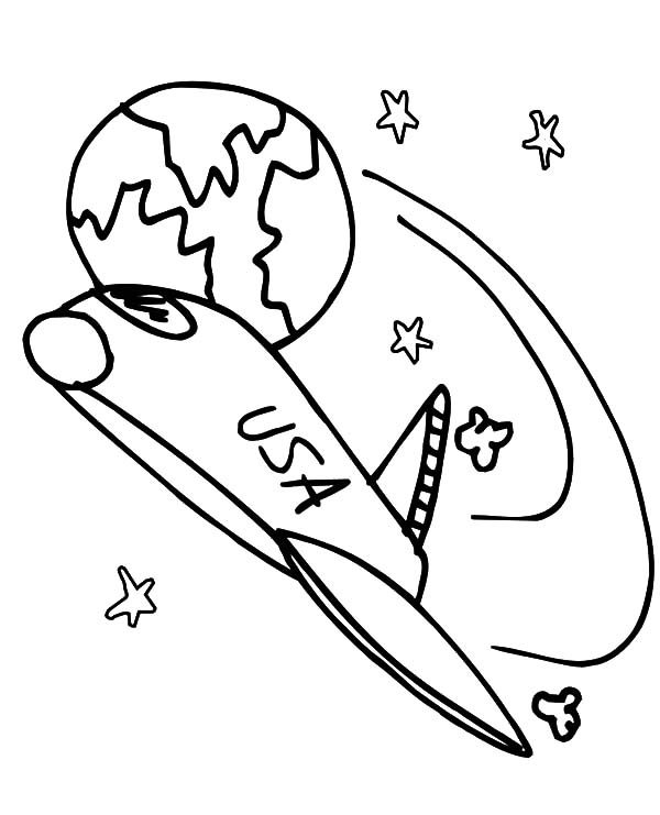 Space Travel, : USA Space Shuttle Space Travel Coloring Pages
