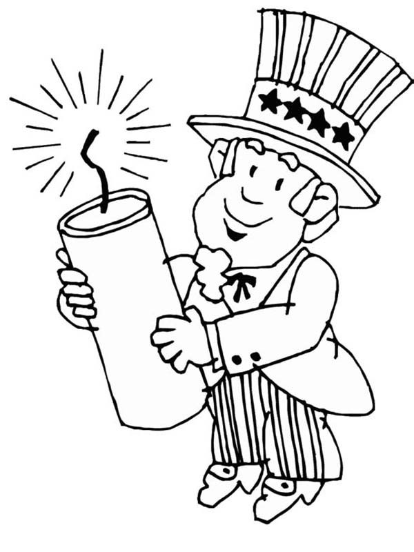 Independence Day, : Uncle Sam Holding Firecracker for 4th July Independence Day Coloring Page