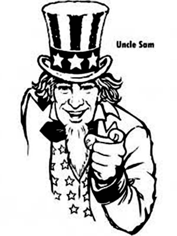 Independence Day, : Uncle Sam and 4th July Independence Day Coloring Page
