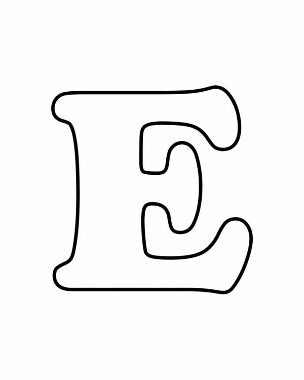 Letter E, : Upper Case Learn Letter E Coloring Page