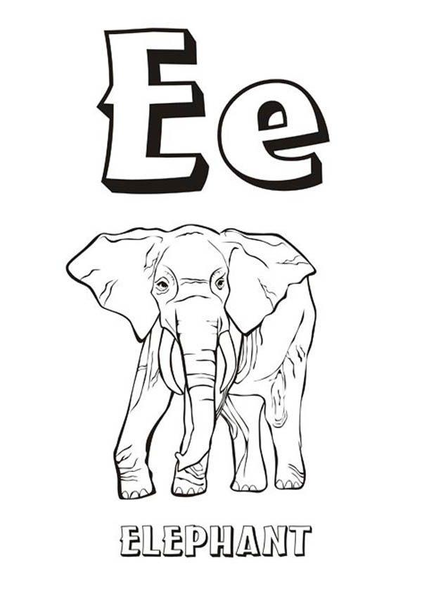 letter e coloring pages elephant - photo#29