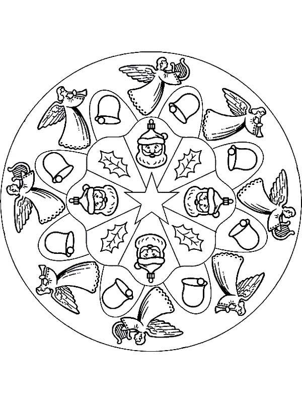 various ornaments of mandala christmas coloring pages