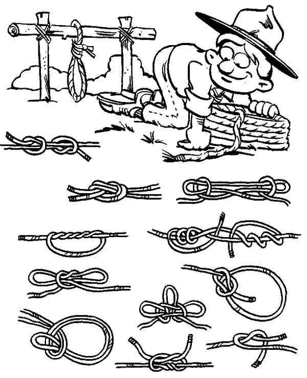 Scouting, : Various Way to Tie Knot in Scouting Coloring Pages