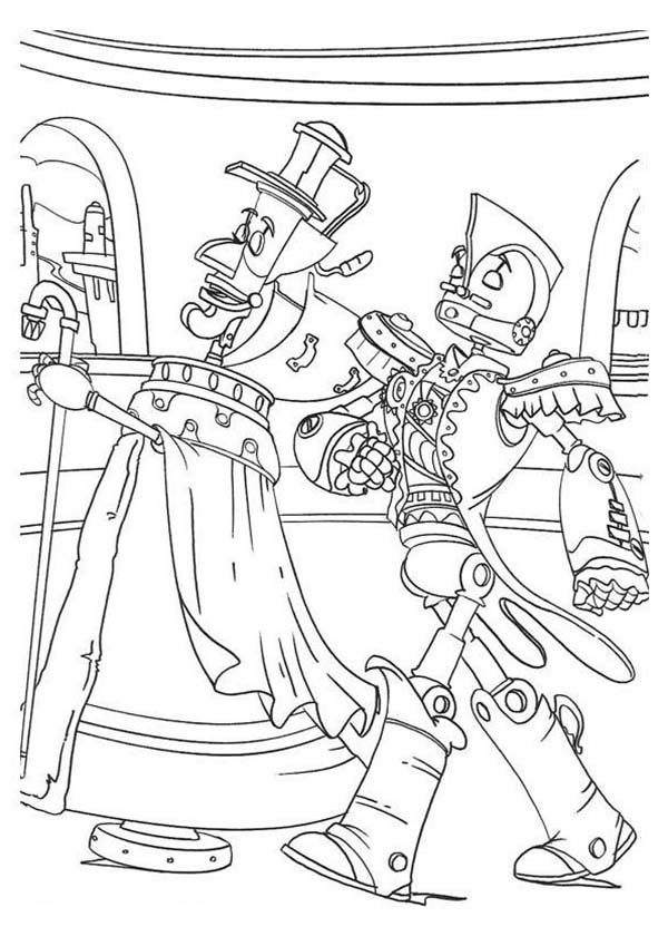 Robots, : Walking with Officer Robot Coloring Pages