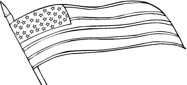 Independence Day, : Waving American Flag for 4th July Independence Day Coloring Page