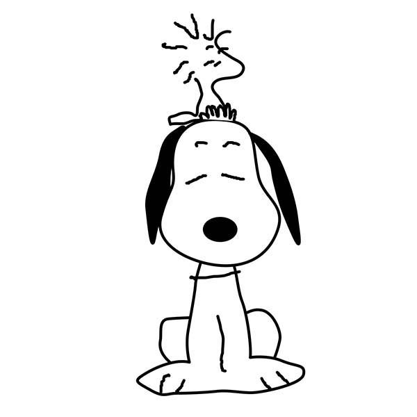 Snoopy, : Woodstock Sitting on Snoopy Head Coloring Pages