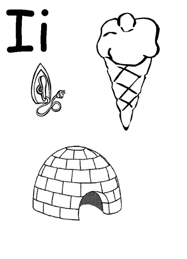 Letter I, : Words Begin with Letter I Coloring Page