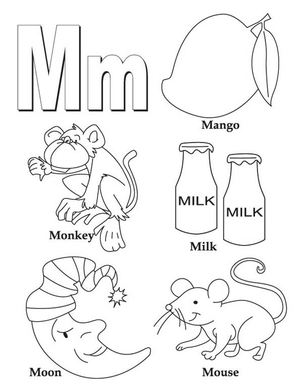 Letter M, : Words Begin with Letter M Coloring Page