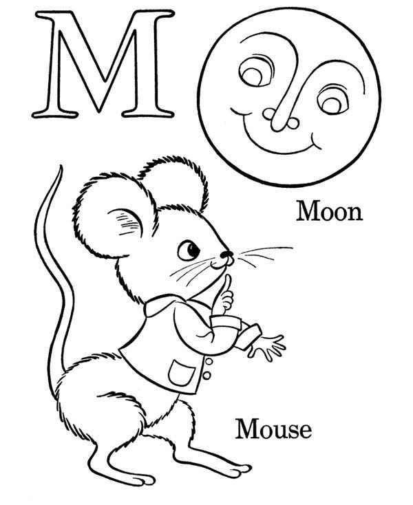 Letter M, : Words Starts with Letter M Coloring Page