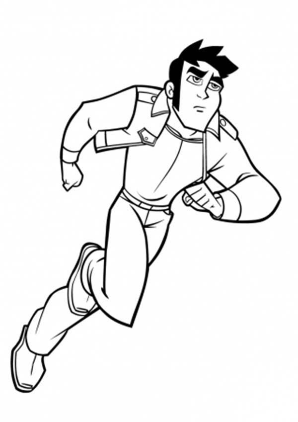 Rox, : Xavier Chasing Enemy in Rox Coloring Pages