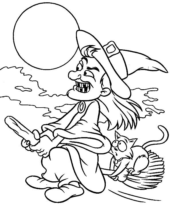 Witch, : A Cat Hitchhike on Witch Magic Broom Coloring Pages