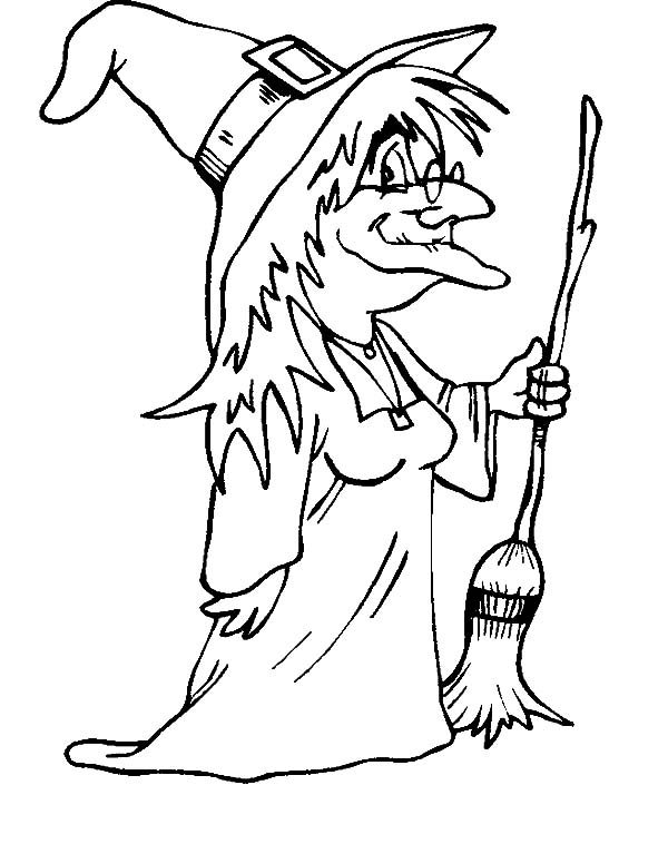 Witch, : An Old Witch Wearing Glassess Coloring Pages