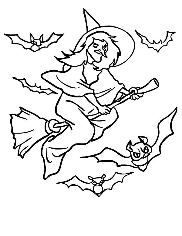 Witch, : Bats Flying Witch Coloring Pages