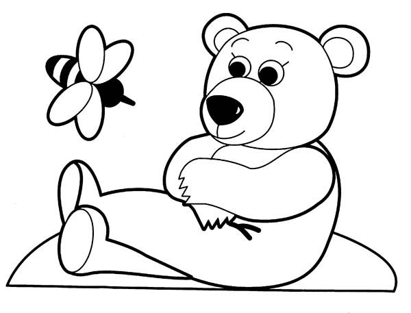Toys, : Bear and Bee Toys Coloring Pages