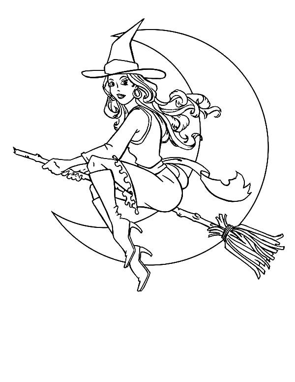 Witch, : Beuatiful Witch Coloring Pages