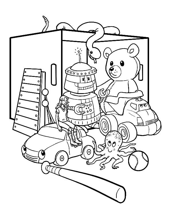 box full of toys coloring pages