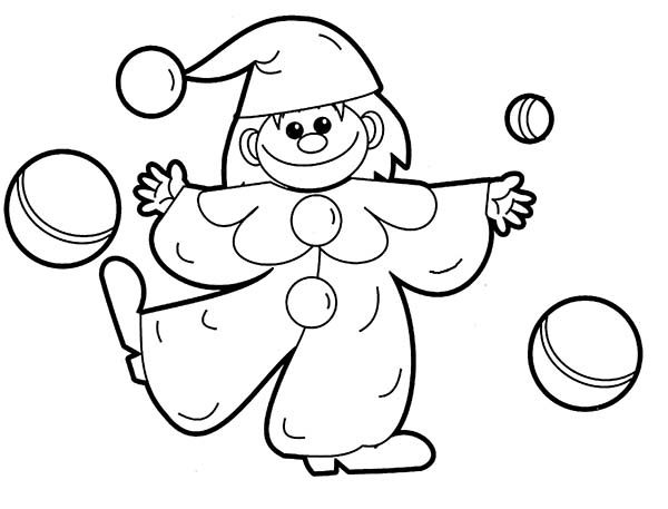 clown toys juggling balls coloring pages