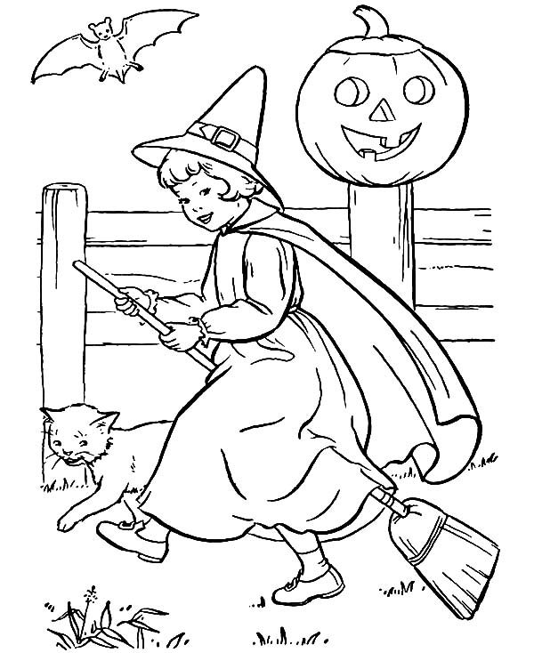 Witch, : Cute Little Witch Coloring Pages