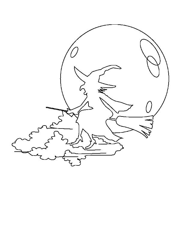 Witch, : Flying Witch Silhouette Coloring Pages
