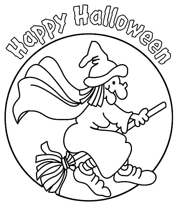Witch, : Happy Halloween Witch Coloring Pages