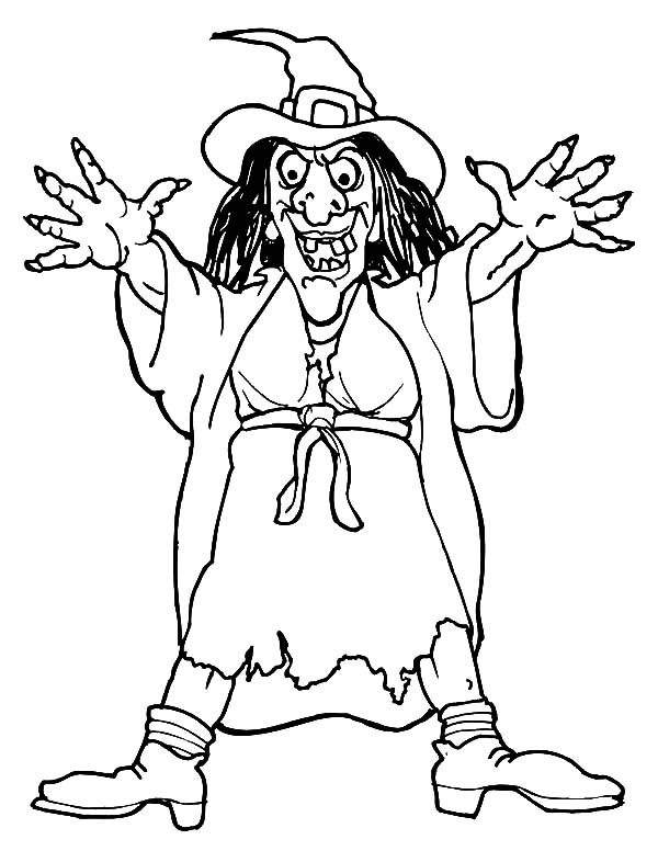 Witch, : Hideous Witch Coloring Pages