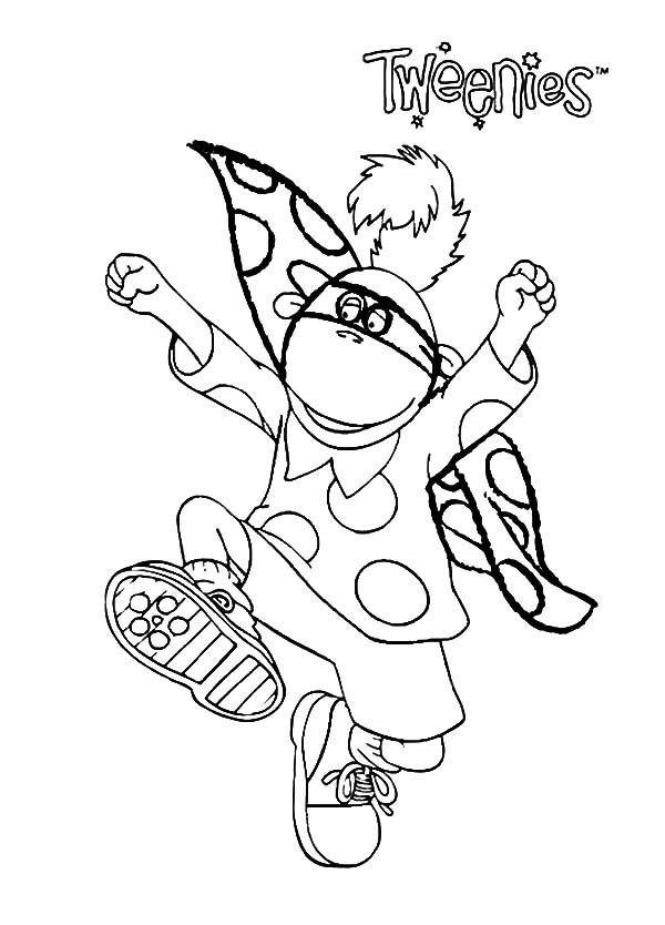 Tweenies, : Jake Tweenies Running with Cloak Coloring Pages