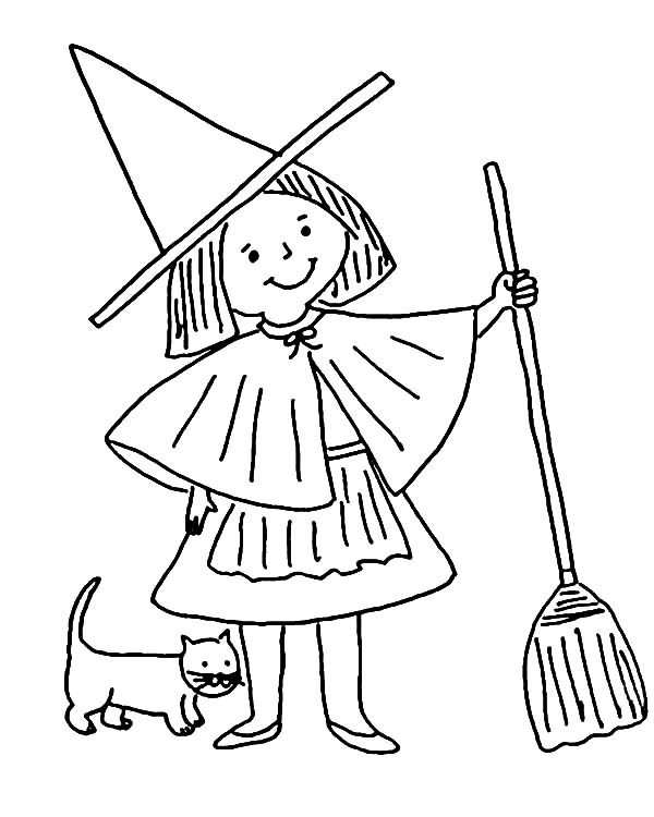 Witch, : Little Witch and Her Cat Coloring Pages