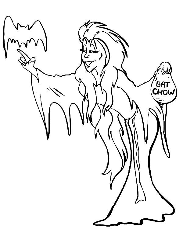 Witch, : Long Haired Witch Coloring Pages