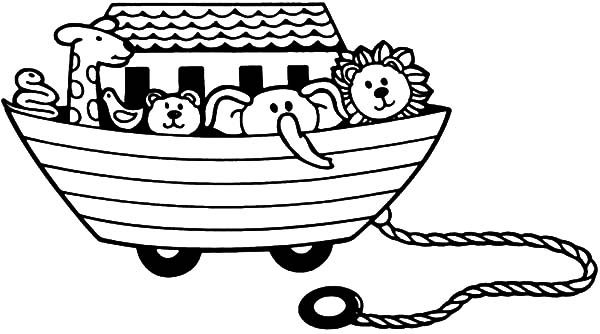 Toys, : Noah Arc with Animals Toys Coloring Pages