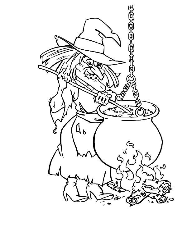 Witch, : Poisonous Cauldron Witch Coloring Pages