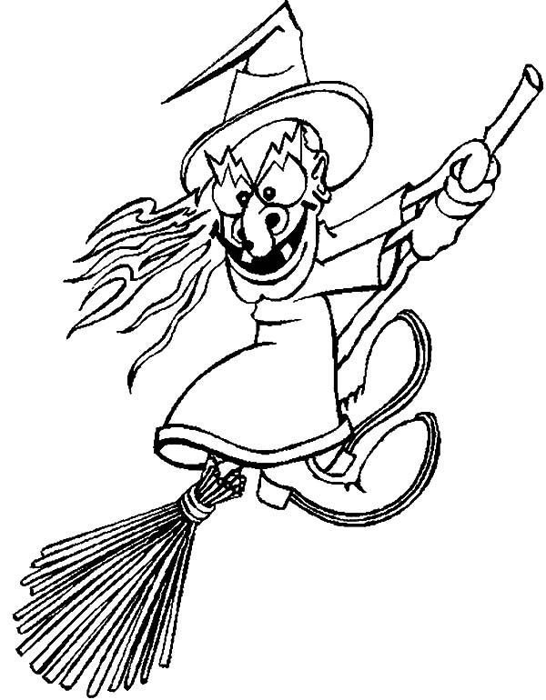 Witch, : Scary Witch Coloring Pages