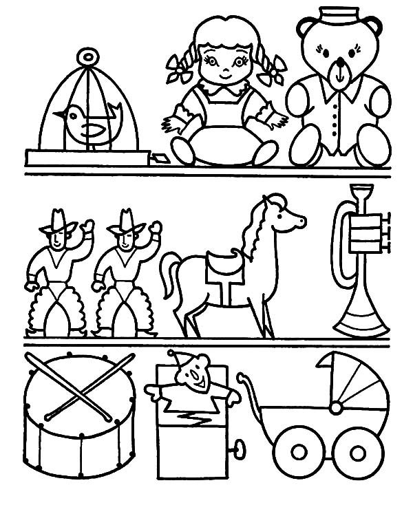 Toys, : Toys Store Coloring Pages