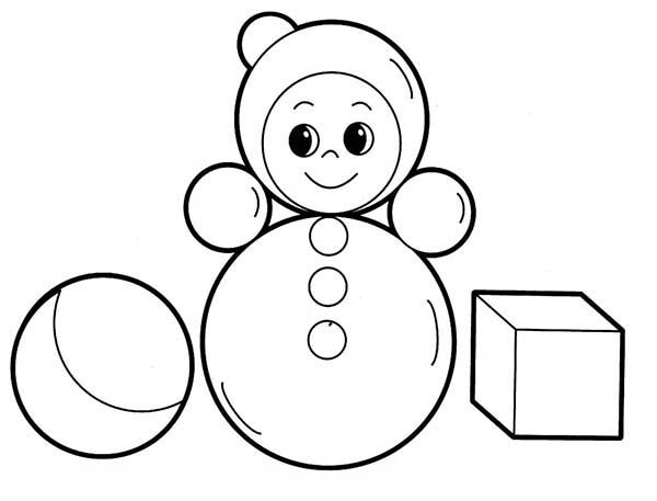 Toys, : Toys with Shapes for Babies Coloring Pages