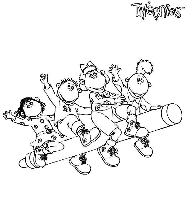 Tweenies, : Tweenies Characters Ride a Crayon Coloring Pages