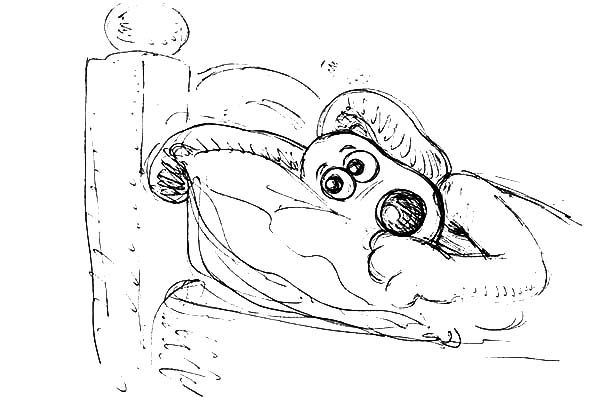 Wallace and Gromit, : Wallace and Gromit Afraid to Sleep Alone Coloring Pages