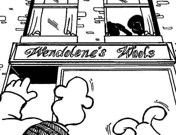 Wallace and Gromit, : Wallace and Gromit Arrived at Wendolene's Wools Coloring Pages