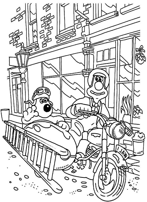 Wallace and Gromit, : Wallace and Gromit Bring Stair with Tandem Bike Coloring Pages