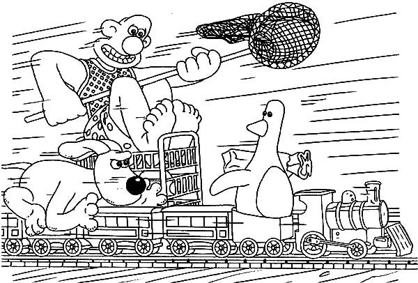 Wallace and Gromit, : Wallace and Gromit Chasing Duck on a Train Coloring Pages