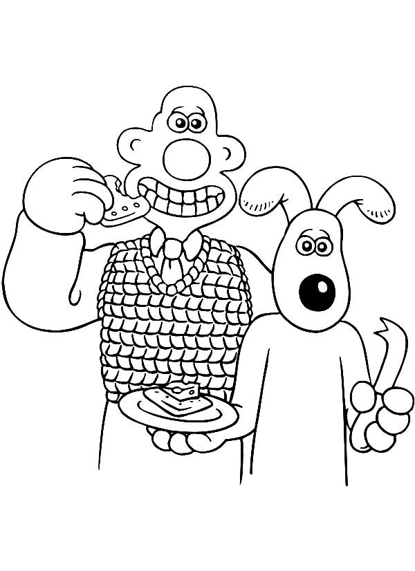 Wallace and Gromit, : Wallace and Gromit Eat Slice of Cake Coloring Pages