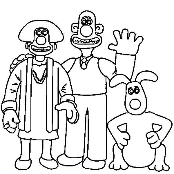 Wallace and Gromit, : Wallace and Gromit Family Coloring Pages