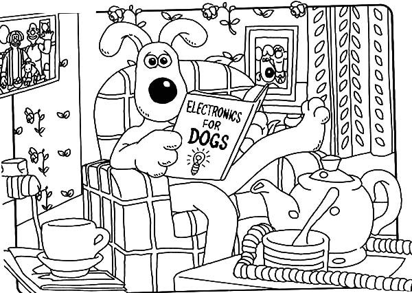 Wallace and Gromit, : Wallace and Gromit Lazing in the Living Room Coloring Pages