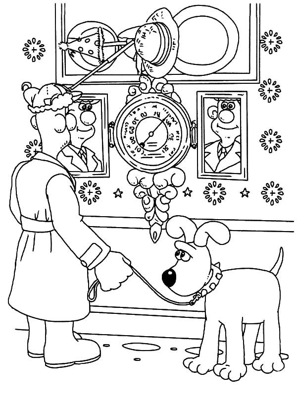 Wallace and Gromit, : Wallace and Gromit Looking at Christmas Clock Coloring Pages