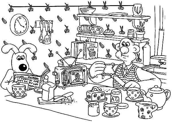 Wallace and Gromit, : Wallace and Gromit Looking for Some Information in Newspaper Coloring Pages