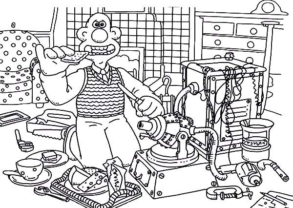 Wallace and Gromit, : Wallace and Gromit Taking Breakfast Before Doing Experiment Coloring Pages