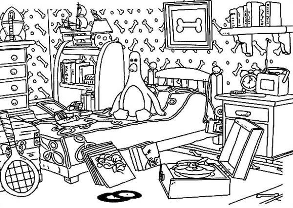Wallace and Gromit, : Wallace and Gromit This Room is so Messy Coloring Pages