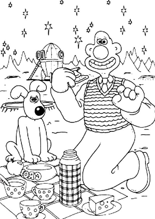 Wallace and Gromit, : Wallace and Gromit Vacation on Mars Coloring Pages