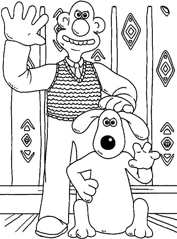 Wallace and Gromit, : Wallace and Gromit Waving Hand Coloring Pages