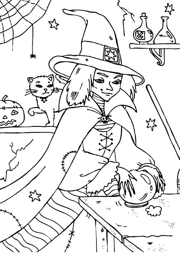 Witch, : Wicked Witch Touch Her Crystal Ball Coloring Pages