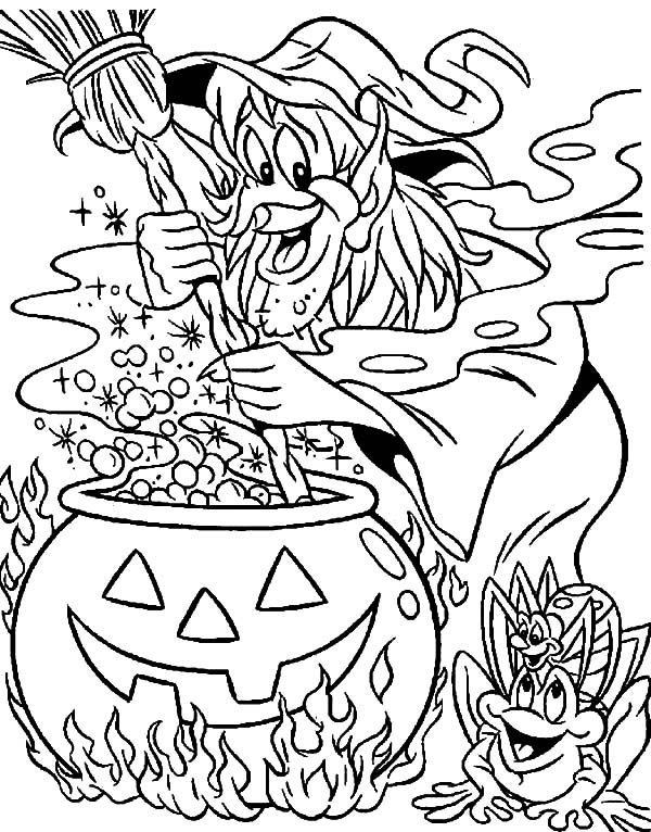 Witch, : Witch Coloring Pages