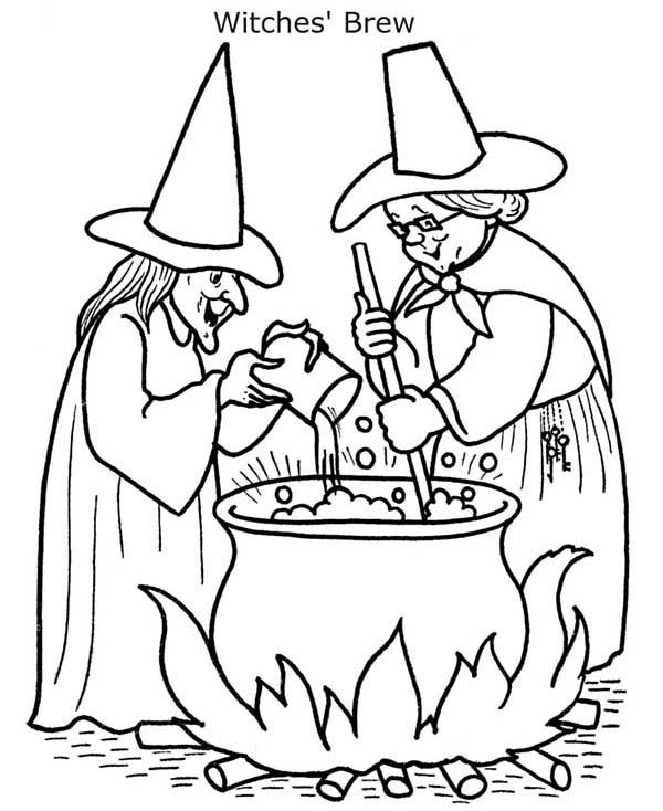 Witch, : Witch Cooking Brew Coloring Pages